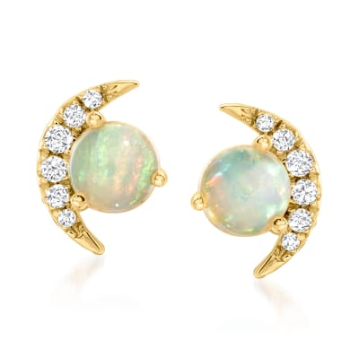 Opal and Diamond-Accented Crescent Moon Earrings in 14kt Yellow Gold