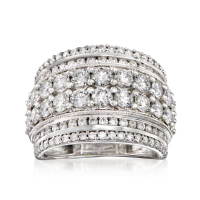 3.00 ct. t.w. Diamond Multi-Row Ring in 14kt White Gold