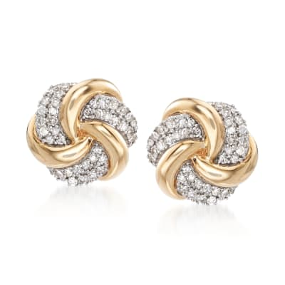 .25 ct. t.w. Diamond Swirl Knot Earrings in 14kt Yellow Gold