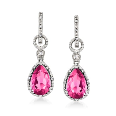 7.55 ct. t.w. Pink Topaz and .16 ct. t.w. Diamond Hoop Drop Earrings in Sterling Silver