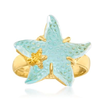 Italian Tagliamonte 16mm Blue Venetian Glass Starfish Ring in 18kt Gold Over Sterling