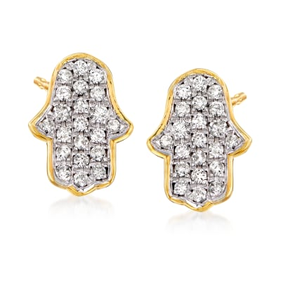 .39 ct. t.w. Diamond Hamsa Hand Stud Earrings in 18kt Gold Over Sterling