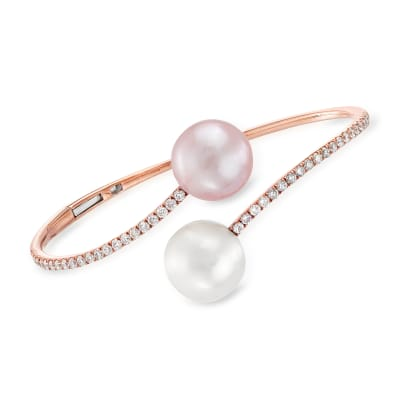 12-13mm Pink and White Cultured South Sea Pearl Bangle Bracelet with 1.00 ct. t.w. Diamonds in 18kt Rose Gold