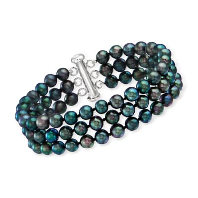 5.5-6.5mm Black Cultured Pearl Triple-Strand Bracelet with Sterling Silver