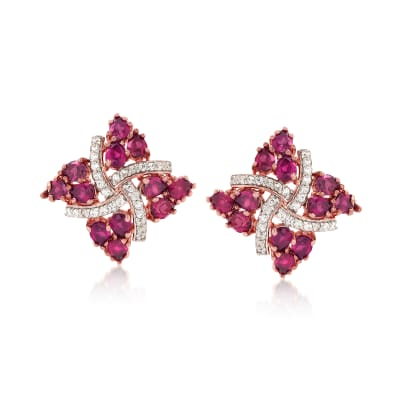 4.80 ct. t.w. Rhodolite Garnet and .20 ct. t.w. White Zircon Pinwheel Earrings in 18kt Rose Gold Over Sterling