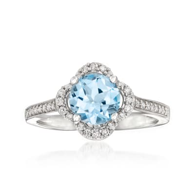 1.50 Carat London Blue Topaz and .25 ct. t.w. Diamond Ring in 14kt White Gold