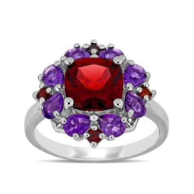 3.20 ct. t.w. Garnet and 1.10 ct. t.w. Amethyst Ring in Sterling Silver