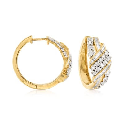 1.00 ct. t.w. Baguette and Round Diamond Ribbon Hoop Earrings in 18kt Gold Over Sterling