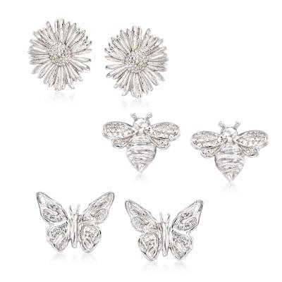Sterling Silver Jewelry Set: Three Pairs of Summer Stud Earrings