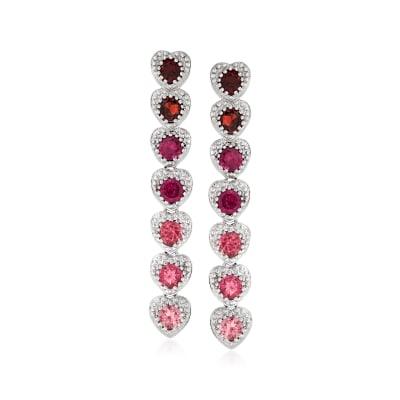 1.00 ct. t.w. Pink Tourmaline, 1.00 ct. t.w. Rhodolite Garnet and .90 ct. t.w. Garnet Drop Earrings in Sterling Silver
