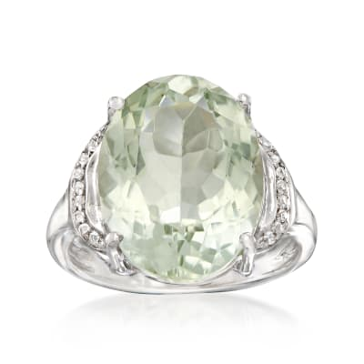 7.50 Carat Prasiolite Ring with White Topaz Accents in Sterling Silver