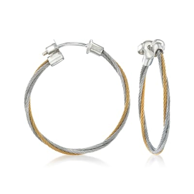 "ALOR ""Classique"" Yellow and Gray Stainless Steel Cable Hoop Earrings with 18kt White Gold"