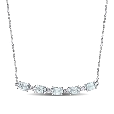 2.00 ct. t.w. Aquamarine and .14 ct. t.w. Diamond Curved Bar Necklace in 14kt White Gold