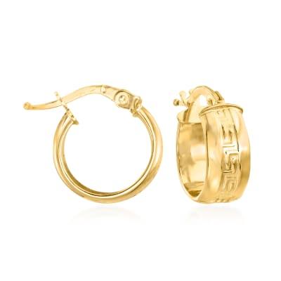 Italian Greek Key Huggie Hoop Earrings in 14kt Yellow Gold