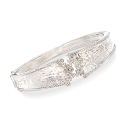 .15 ct. t.w. Diamond Cluster Bangle Bracelet in Sterling Silver