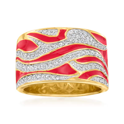 .50 ct. t.w. Diamond and Red Enamel Flame Ring in 18kt Gold Over Sterling
