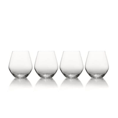 "Mikasa ""Gianna"" Set of 4 Ombre Smoke Stemless Glasses"