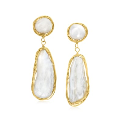 8-25mm Cultured Baroque Pearl Drop Earrings in 18kt Gold Over Sterling