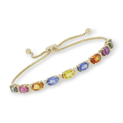 5.75 ct. t.w. Multicolored Sapphire and .20 ct. t.w. Diamond Bolo Bracelet in 18kt Yellow Gold