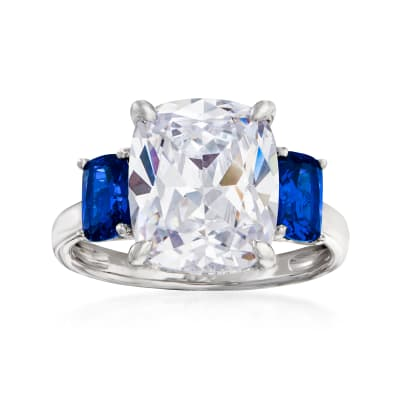 6.25 Carat CZ and 1.10 ct. t.w. Simulated Sapphire Three-Stone Ring in Sterling Silver