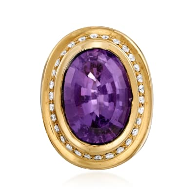 C. 1980 Vintage 12.00 Carat Amethyst and .60 ct. t.w. Diamond Ring in 14kt Yellow Gold