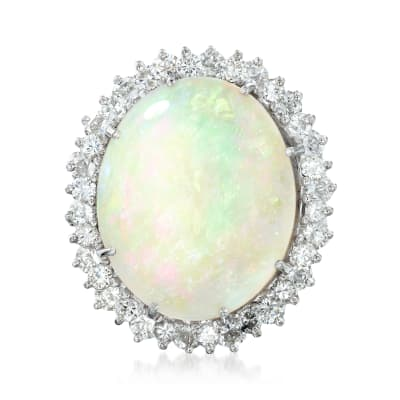 C. 1990 Vintage Opal and 1.90 ct. t.w. Diamond Ring in 14kt White Gold