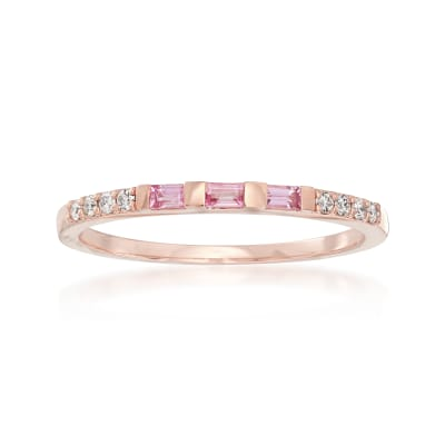 .10 ct. t.w. Pink Sapphire and Diamond-Accented Band in 14kt Rose Gold