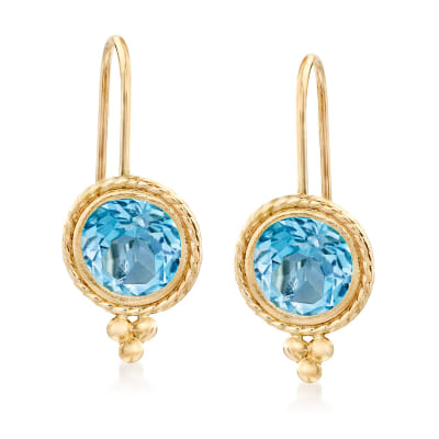 1.80 ct. t.w. Blue Topaz Drop Earrings in 14kt Yellow Gold
