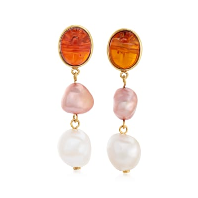 Multicolored Cultured Baroque Pearl and Amber Drop Earrings in 14kt Yellow Gold