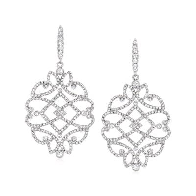 1.36 ct. t.w. Diamond Scrollwork Drop Earrings in 14kt White Gold
