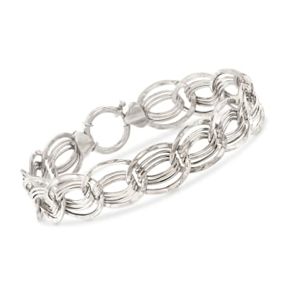 14kt White Gold Interlocking Multi-Link Bracelet