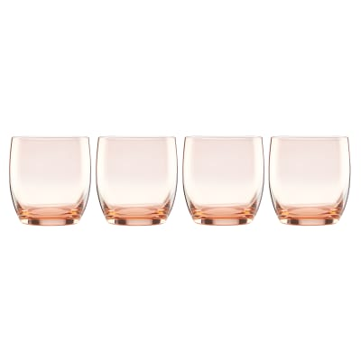 "Lenox ""Valencia"" Set of 4 Peach Double Old-Fashioned Glasses"