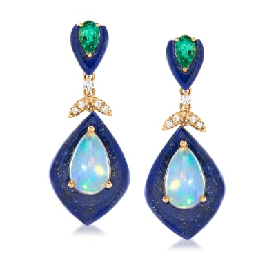 Opal, Lapis and .40 ct. t.w. Emerald Drop Earrings with Diamond Accents in 14kt Yellow Gold