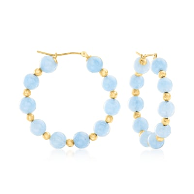 30.00 ct. t.w. Aquamarine Hoop Earrings in 14kt Yellow Gold