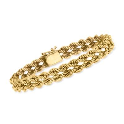 C. 1980 Vintage 14kt Yellow Gold Double-Rope Bracelet