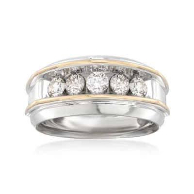 Men's 1.00 ct. t.w. Diamond Wedding Ring in 14kt Two-Tone Gold