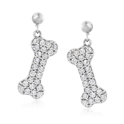 2.40 ct. t.w. White Topaz Dog Bone Drop Earrings in Sterling Silver