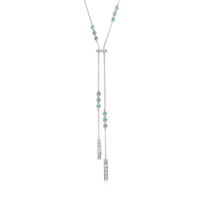 .81 ct. t.w. Diamond and .50 ct. t.w. Emerald Lariat Necklace in 18kt White Gold