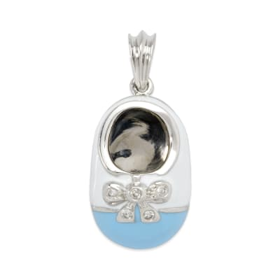 Shoe Charm Pendant with Diamond Accents and Enamel in 14kt White Gold