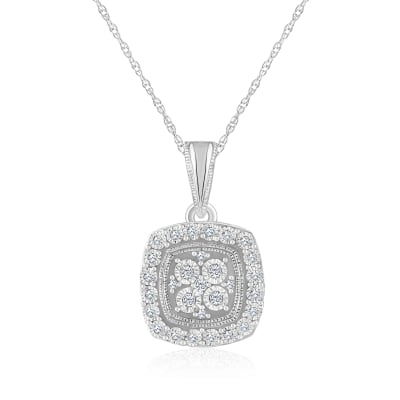.10 ct. t.w. Diamond Square Cluster Pendant Necklace in 14kt White Gold