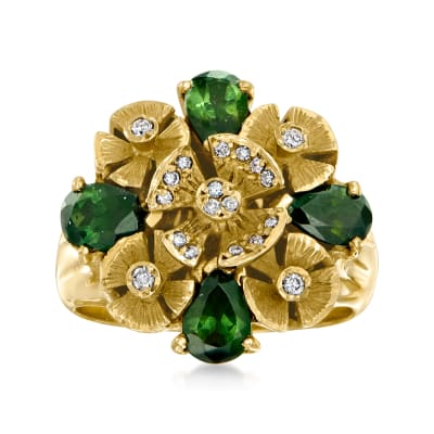 C. 1970 Vintage 1.50 ct. t.w. Green Tourmaline and .15 ct. t.w. Diamond Flower Cluster Ring in 14kt Yellow Gold