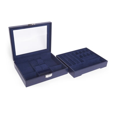 "Brouk & Co. ""Edwin Navy"" Faux Leather Stackable Jewelry Box and Tray"