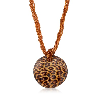 Italian Leopard Murano Glass Multi-Strand Necklace with 18kt Gold Over Sterling