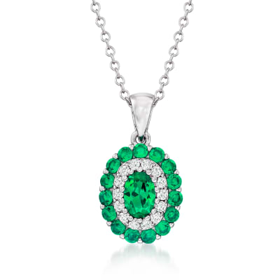 .95 ct. t.w. Simulated Emerald and .10 ct. t.w. CZ Pendant Necklace in Sterling Silver