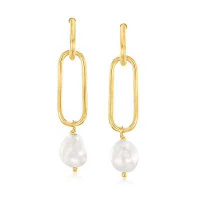 Italian 9-9.5mm Cultured Pearl Paper Clip Drop Earrings in 18kt Gold Over Sterling