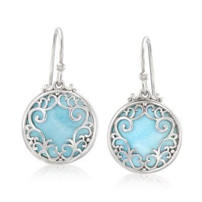 Larimar Filigree Circle Drop Earrings in Sterling Silver