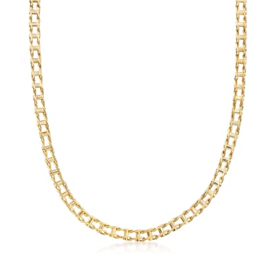 Men's 14kt Yellow Gold Bar-Link Necklace
