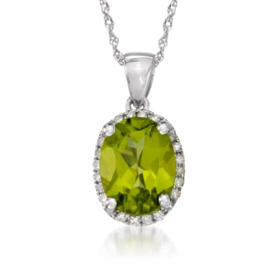 1.80 Carat Peridot Pendant Necklace with Diamonds in 14kt White Gold