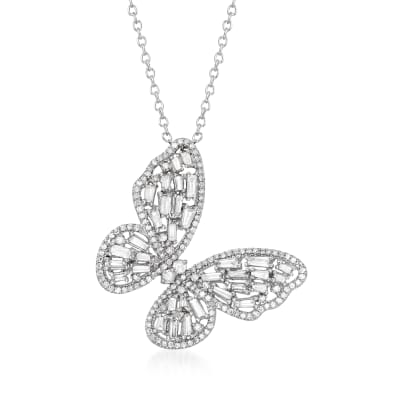1.00 ct. t.w. Diamond Butterfly Pendant Necklace in 14kt White Gold