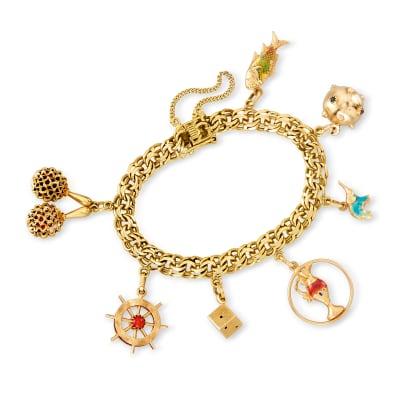 C. 1980 Vintage 18kt Yellow Gold Charm Bracelet